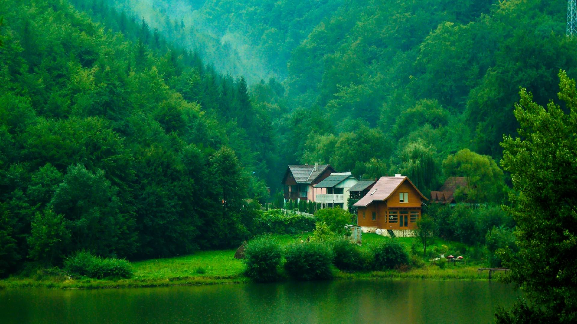 House in the green mountain House in a mountain forest 1920x1080