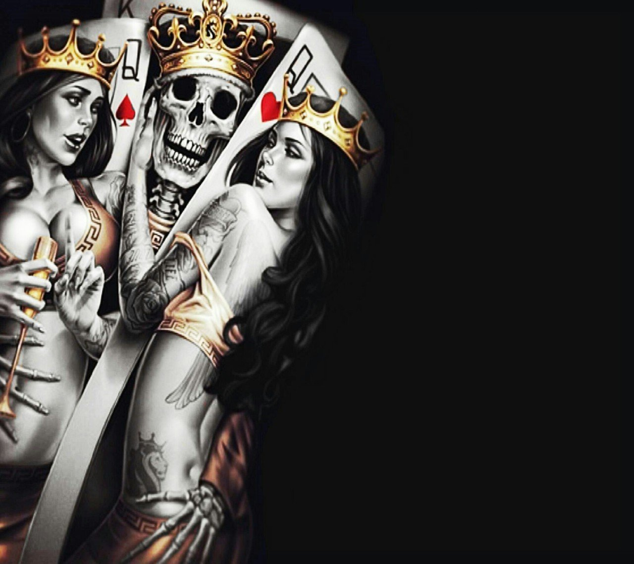 Hd Wallpapers 3d Art Tattoo Design: King And Queen Wallpapers
