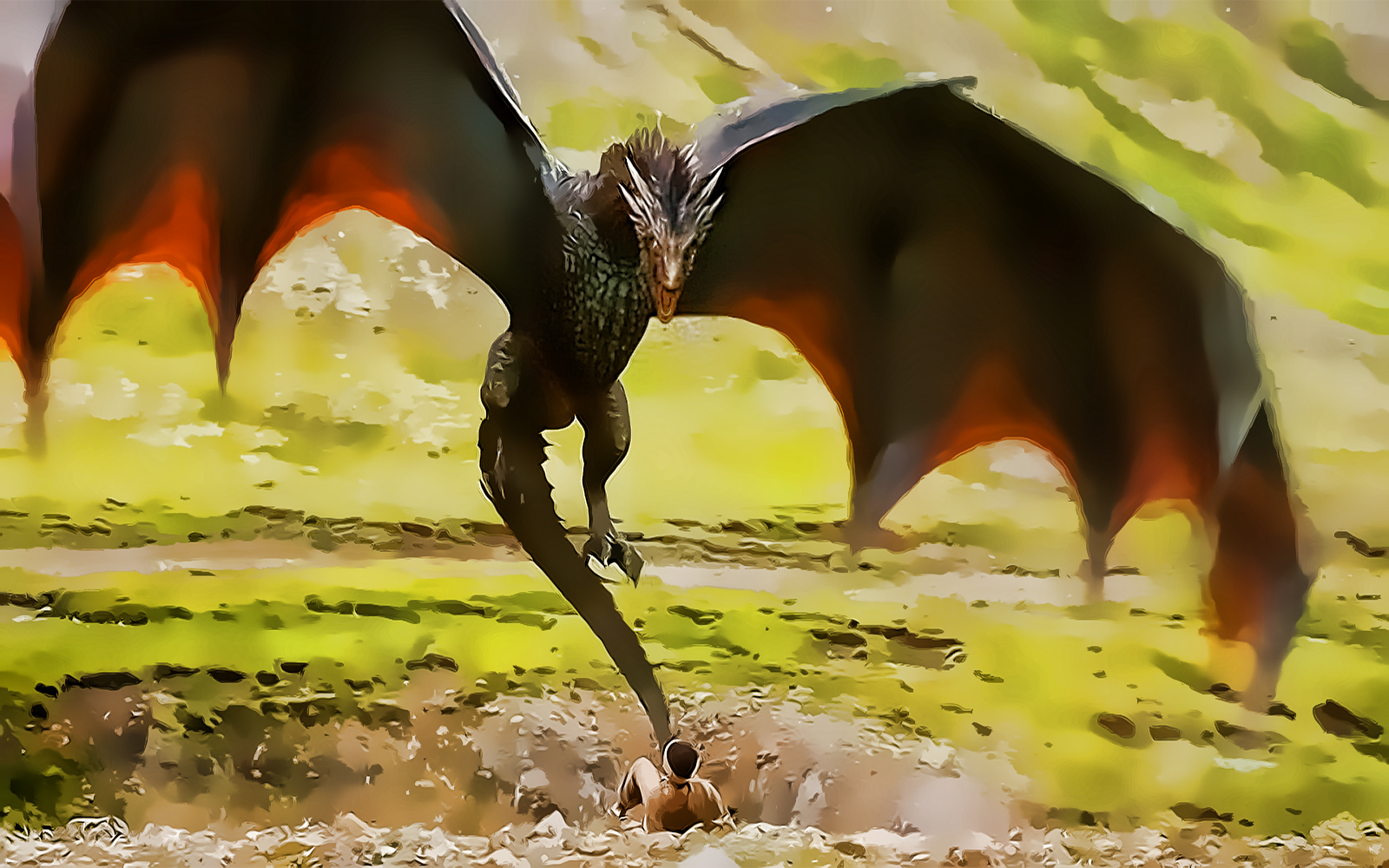 the red dragon from game of thrones drogon   fan art 1600x1000