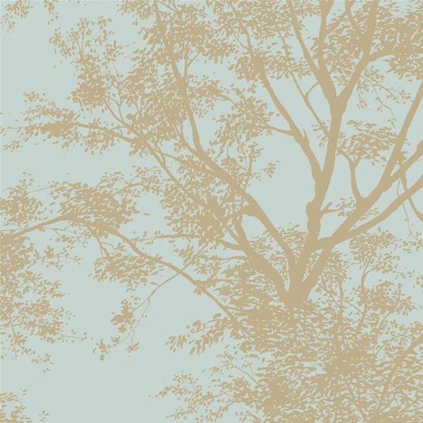 Blue with Gold Tree Silhouette Wallpaper   Wall Sticker Outlet 600x600