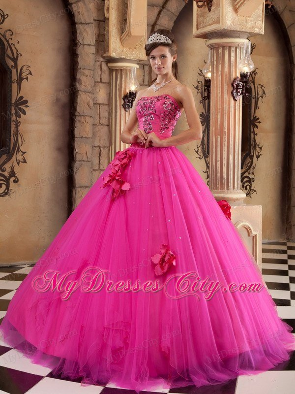 satin and tulle flowers hot pink dress for sweet 15 p 8612html 600x800