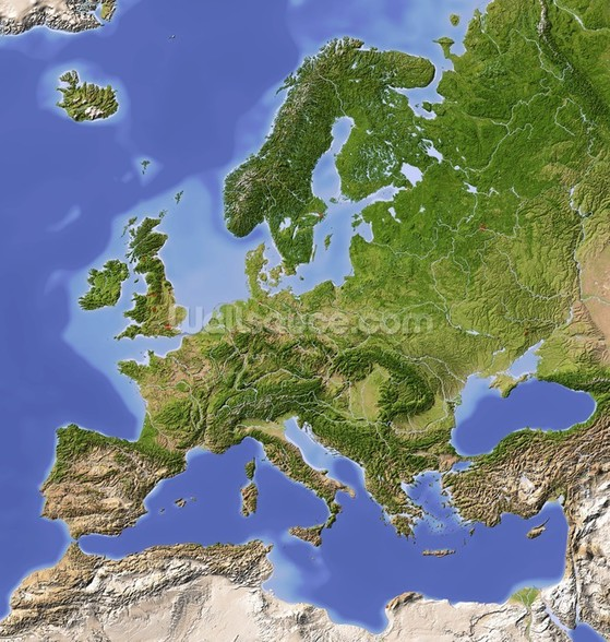 Relief Map of Europe Wall Mural Relief Map of Europe Wallpaper 559x588