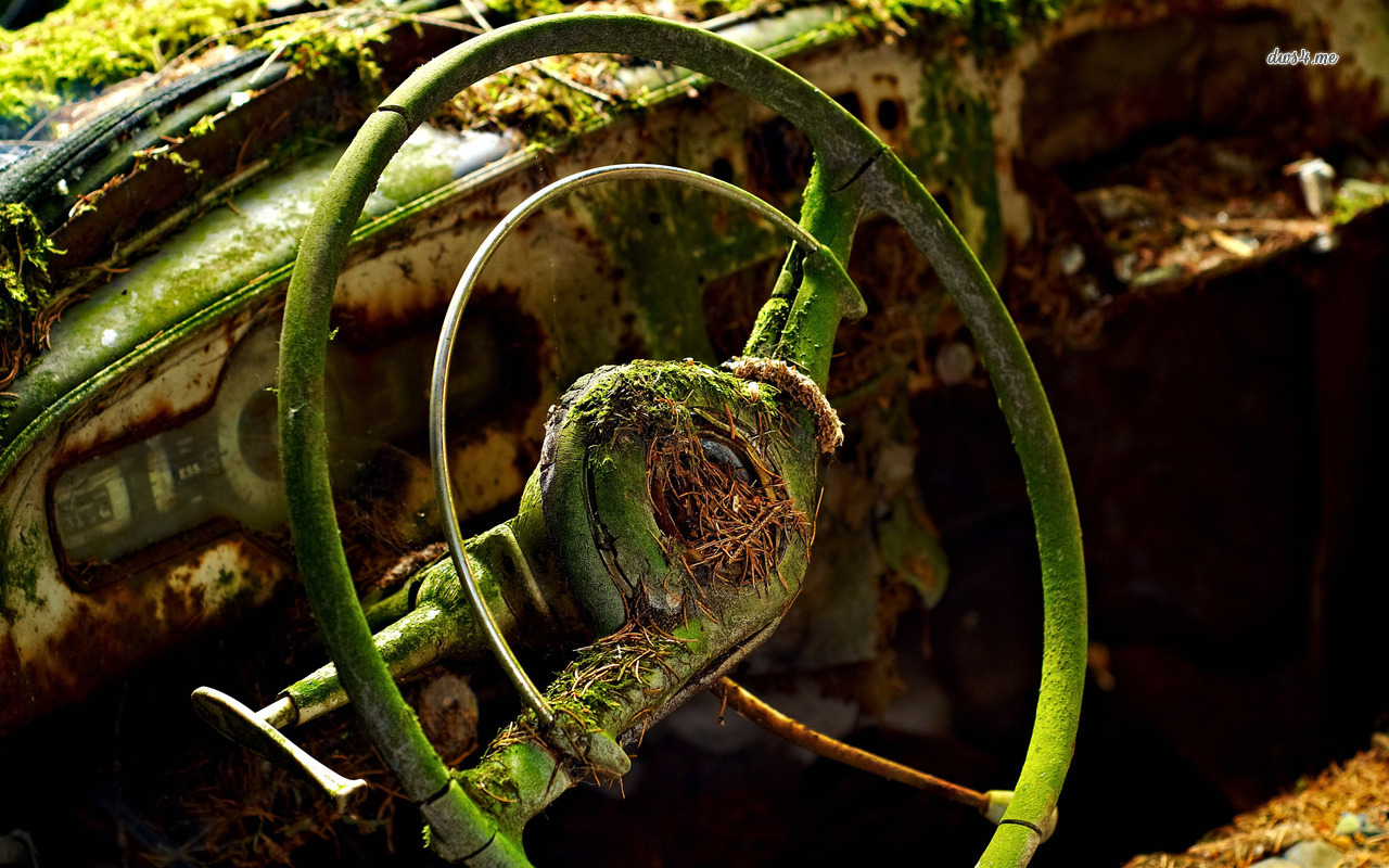 Abandoned car's steering wheel wallpaper - Photography wallpapers ...