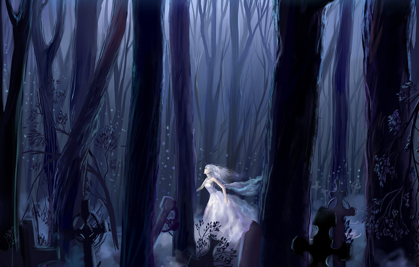 Wallpaper forest night cemetery the bride Ghost otherworldly 1332x850