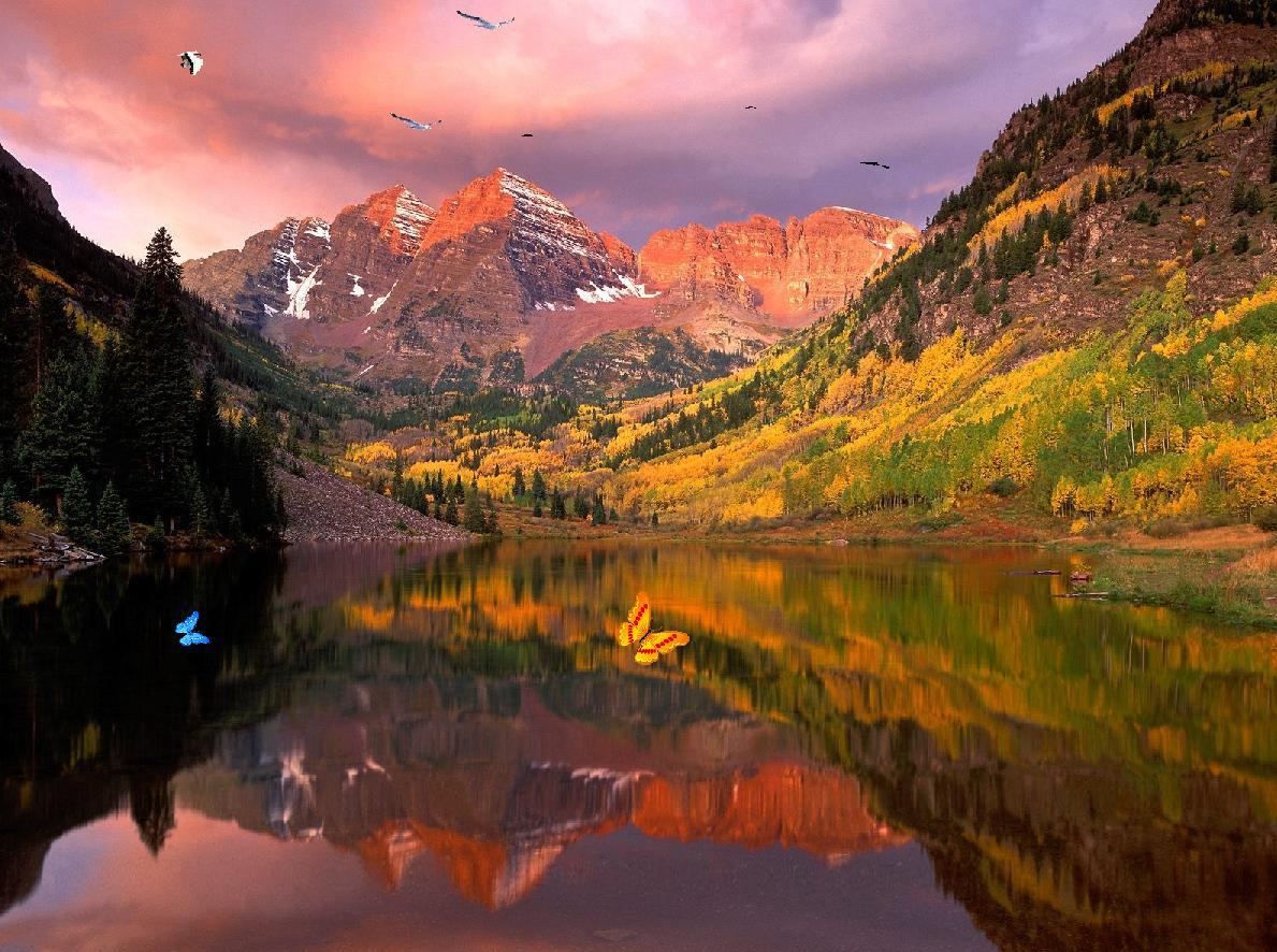 Wonderful Lake Mountain Screensaver 1189x886