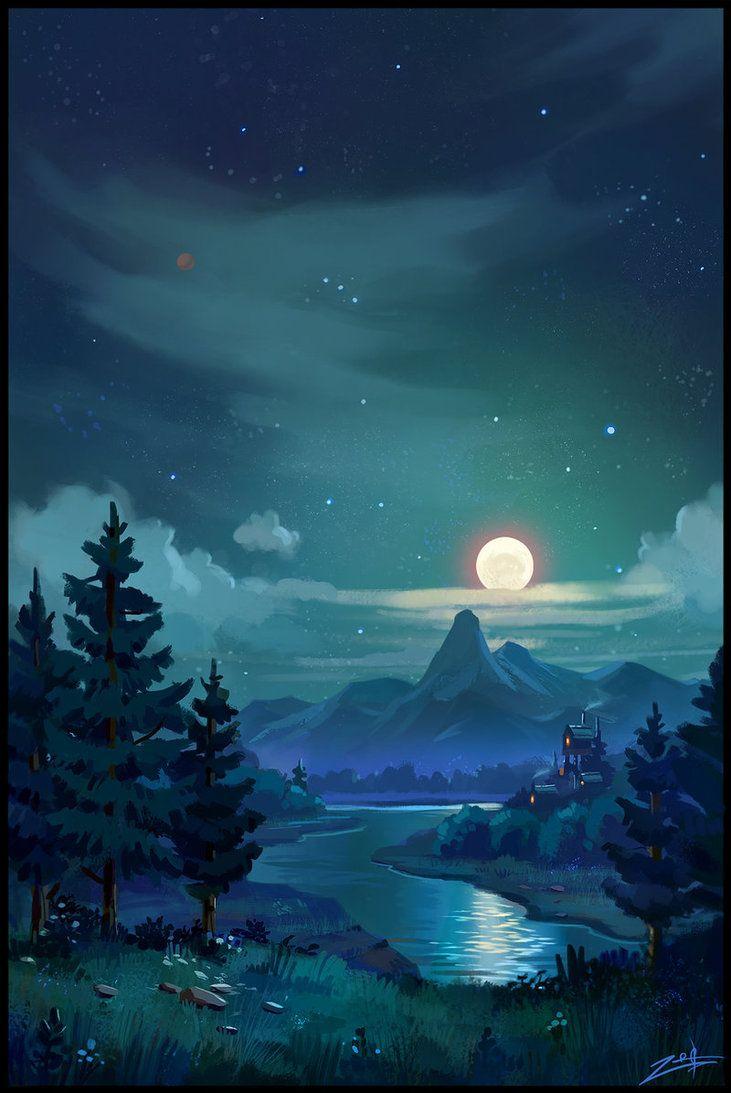 Night by Zoriy on deviantART Scenery wallpaper Anime scenery 731x1093