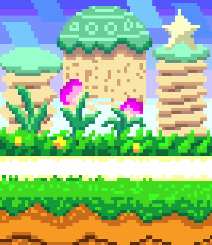 OC] I made the background from Green Greens in Kirby Super Star 710x821
