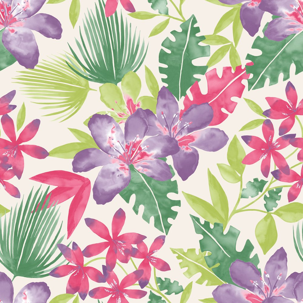 Paradise Flowers Pattern Tropical Floral Leaf Motif Wallpaper 209105 1000x1000