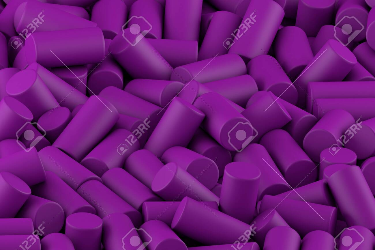 Abstract Background Of Randomly Arranged Matte Cylinders Of Purp 1300x866
