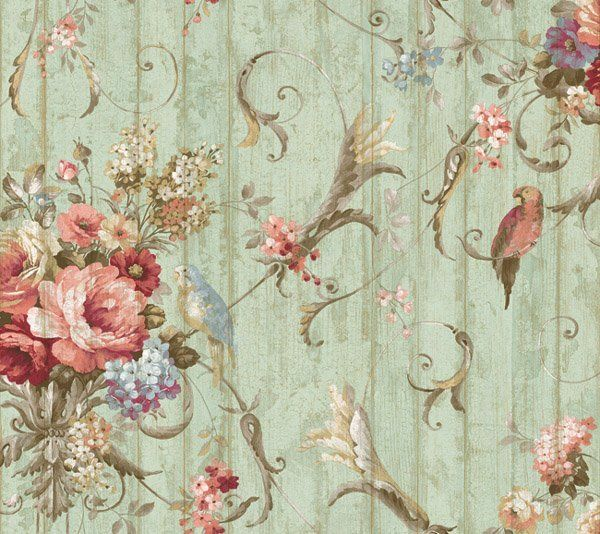 Bird Rose French Cottage Floral Victorian Wallpaper 600x534