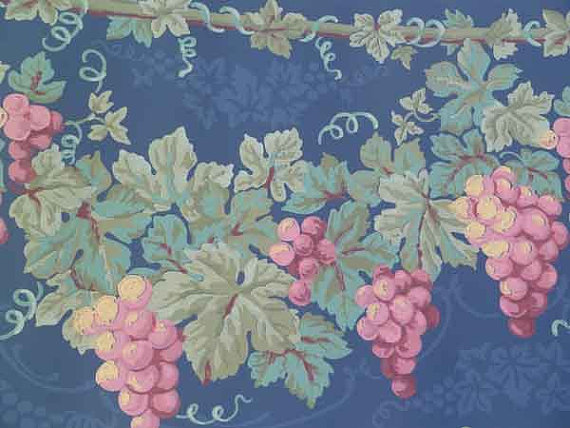VILLAGE Ivy Grape Brocade VINTAGE Wallpaper Border 598180 Red Green 570x428