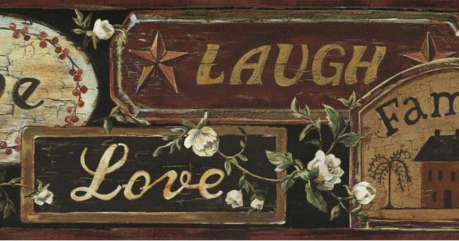 Laugh Wallpaper Border FFR65402B Country Primitive Signs Border eBay 660x347