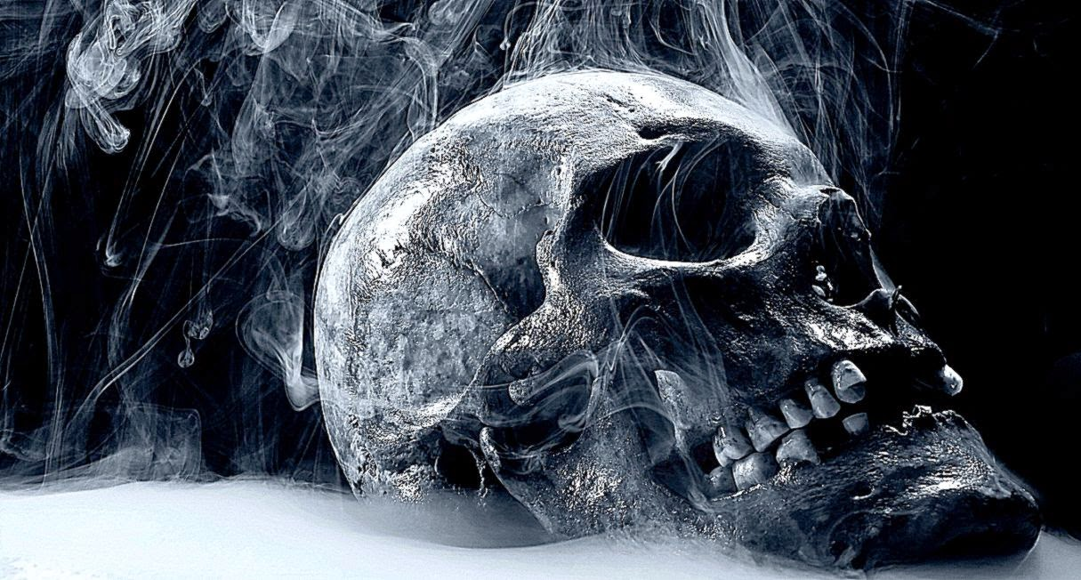 3D Skull White Smoke Wallpaper 3D Wallpapers Widescreen 1215x652