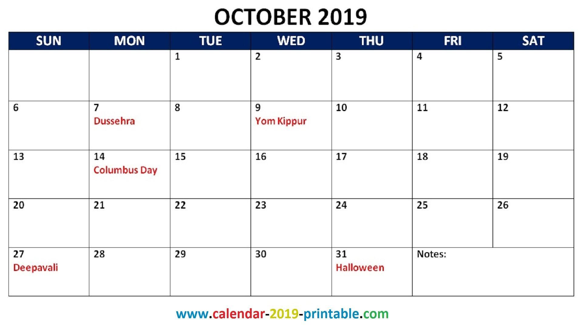 october 2019 calendar with holidays 2019 Calendars October 1920x1080