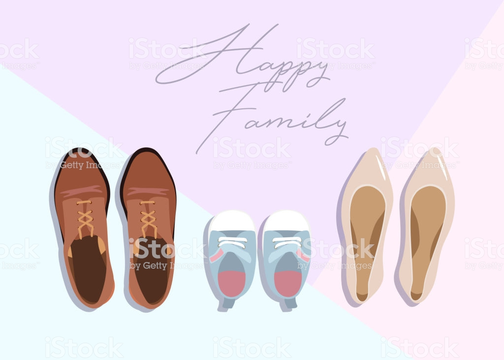Family Concept Shoes For Parents And Child On Color Background 1024x731