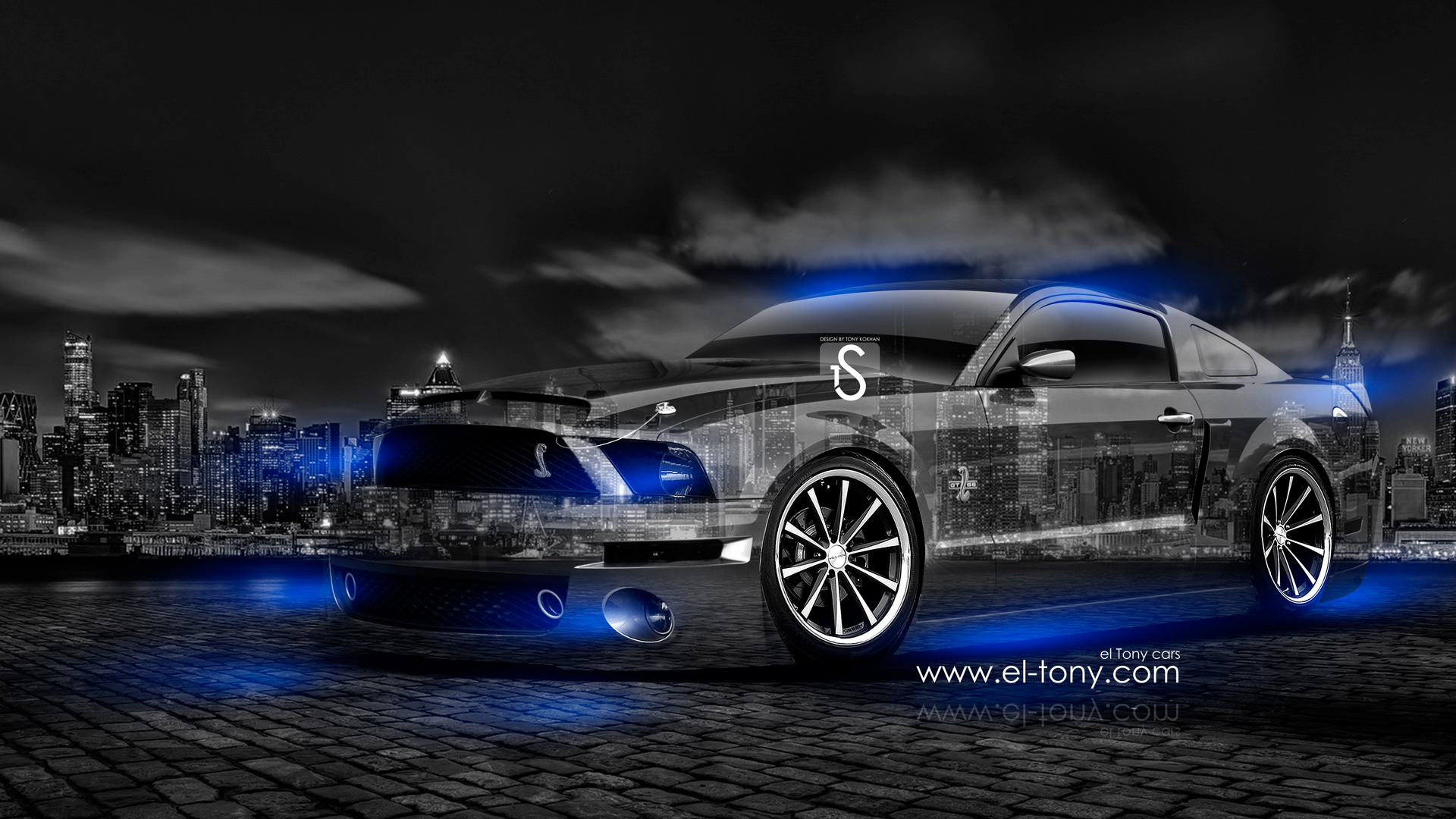 Ford Mustang GT Crystal City Muscle Car 2014 Blue Neon design by Tony 1920x1080