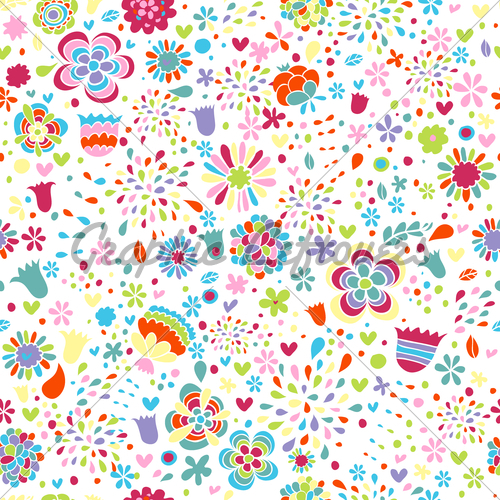 Cute Colorful Floral Vector Pattern GL Stock Images 500x500