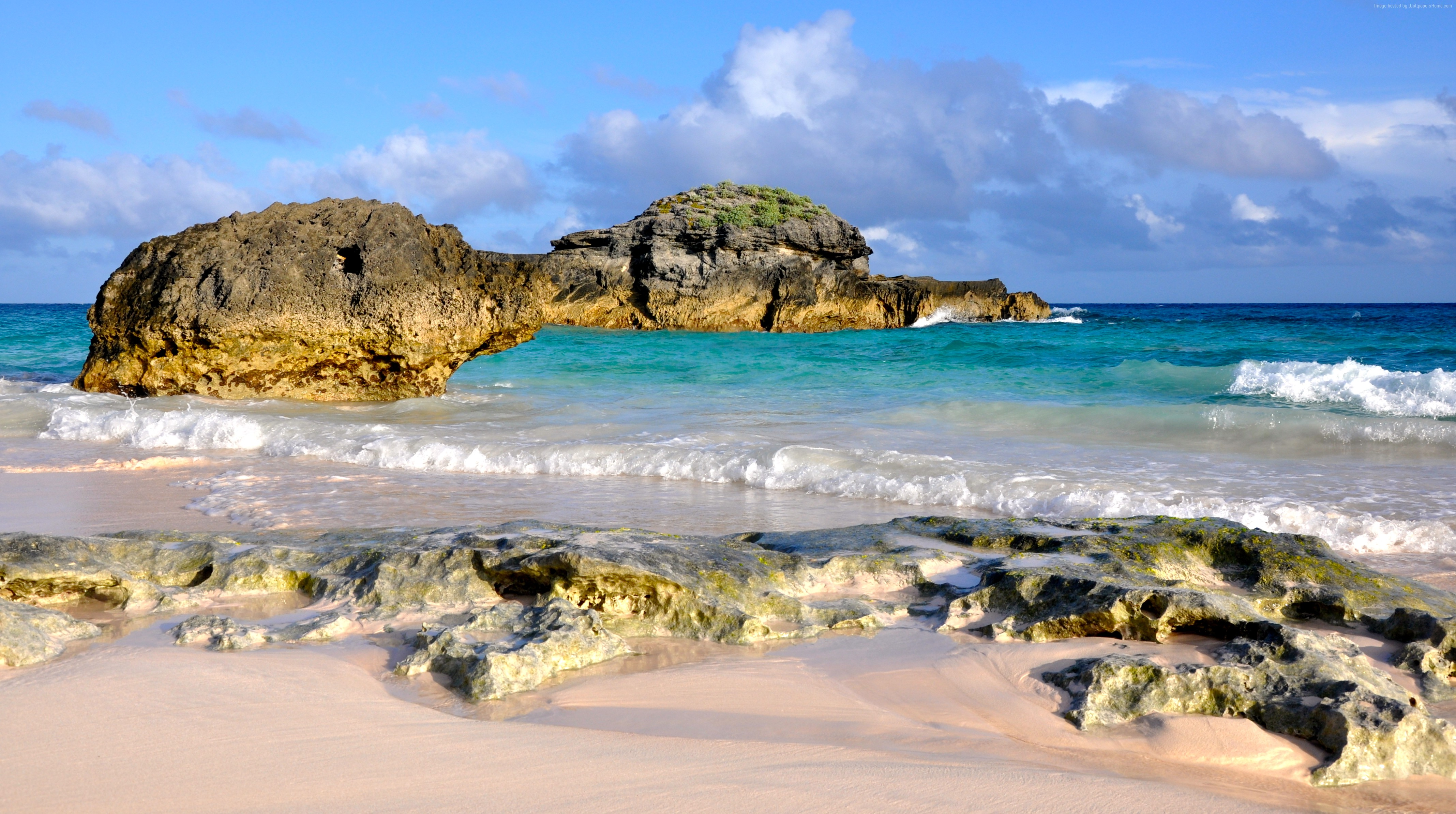 Horseshoe Bay Beach in Bermuda 4k Ultra HD Wallpaper Background 4271x2389