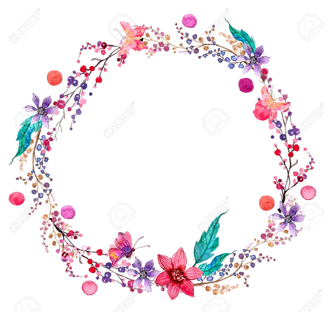 Watercolor Flower Wreath Background For Beautiful Design Royalty 1300x1215