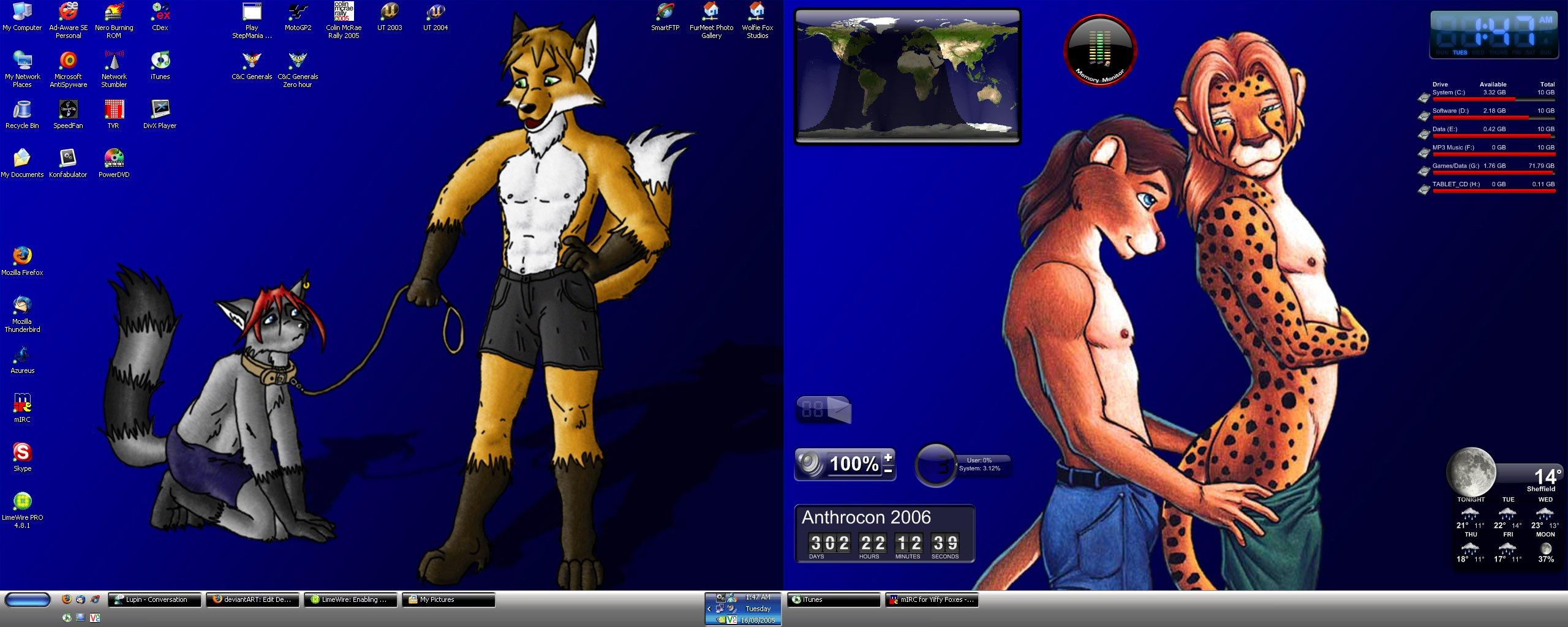 Dual Screen Furry Good[ness by Wolfie Fox 2560x1024