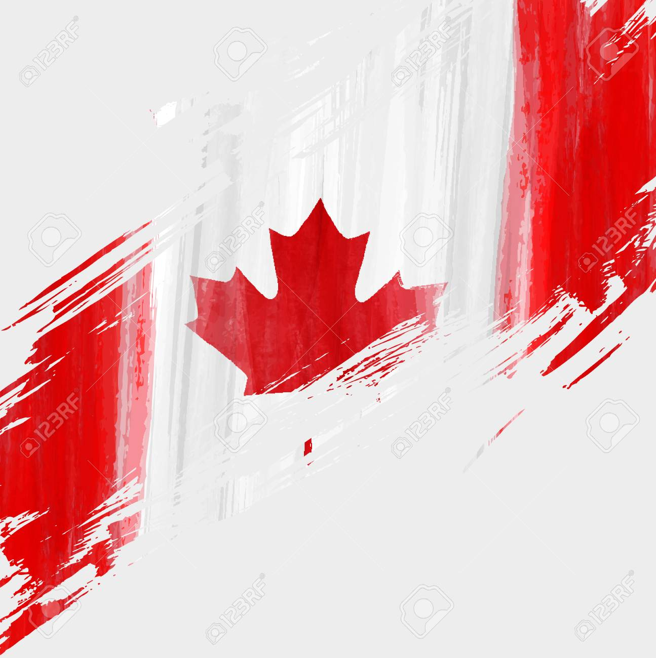 Grunge Canadian Flag Background With Watercolor Brushed Lines 1295x1300