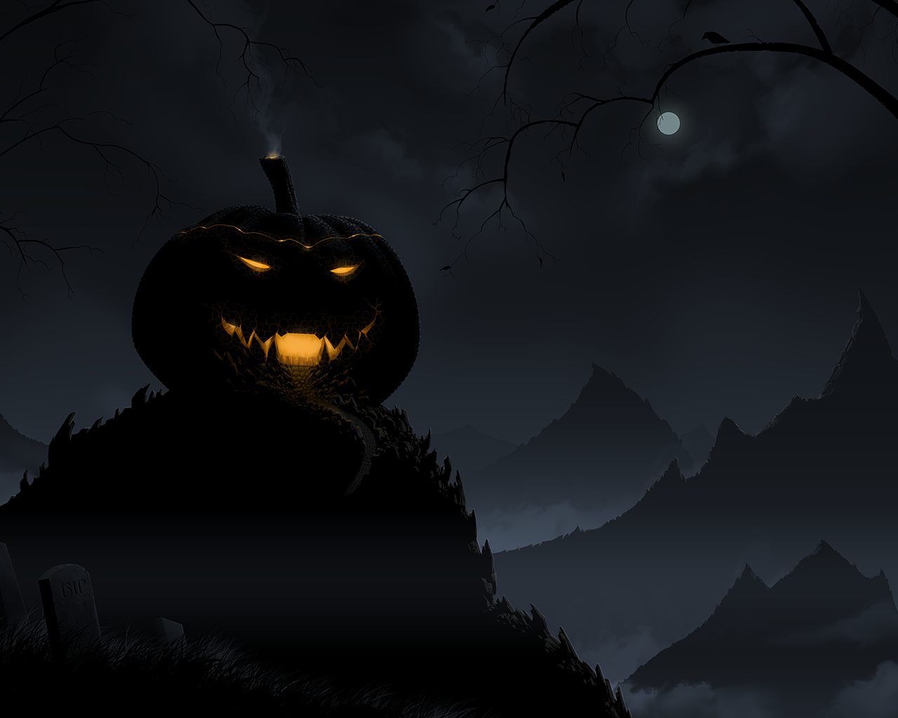 Scary Halloween 2012 HD Wallpapers Pumpkins Witches Spider Web 1280x1024