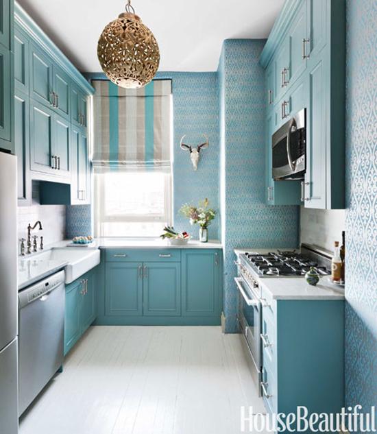 Blue Damask Wallpaper Contemporary kitchen Benjamin Moore Hemlock 550x633