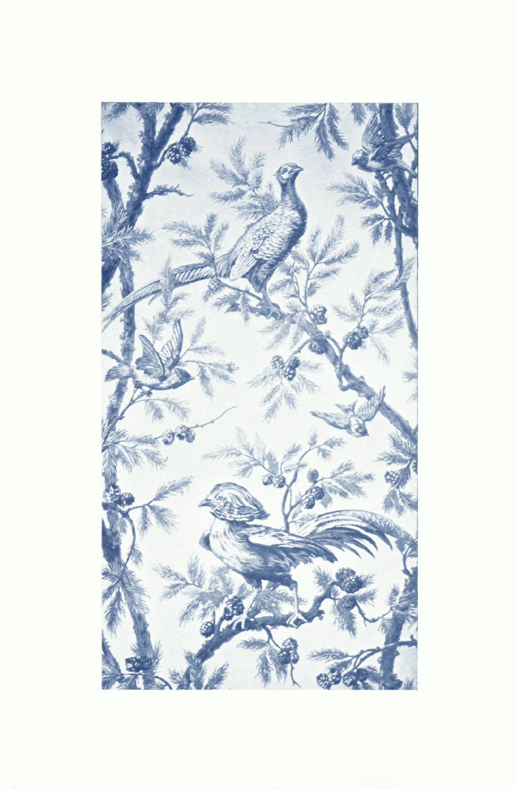Beautiful Bleu Vintage French Wallpaper Design Printed in Paris 1910 1046x1600