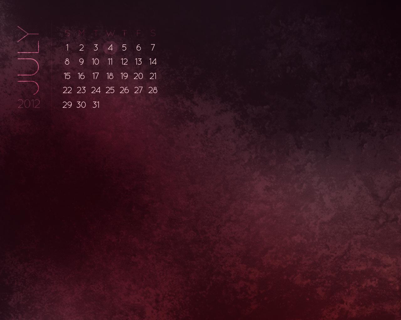 Desktop Wallpaper Calendars July 2012 1280x1024