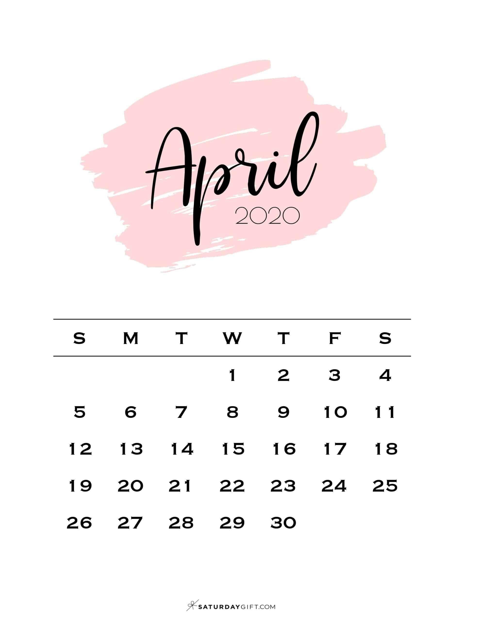 Cute Printable April 2021 Calendar SaturdayGift 1978x2560
