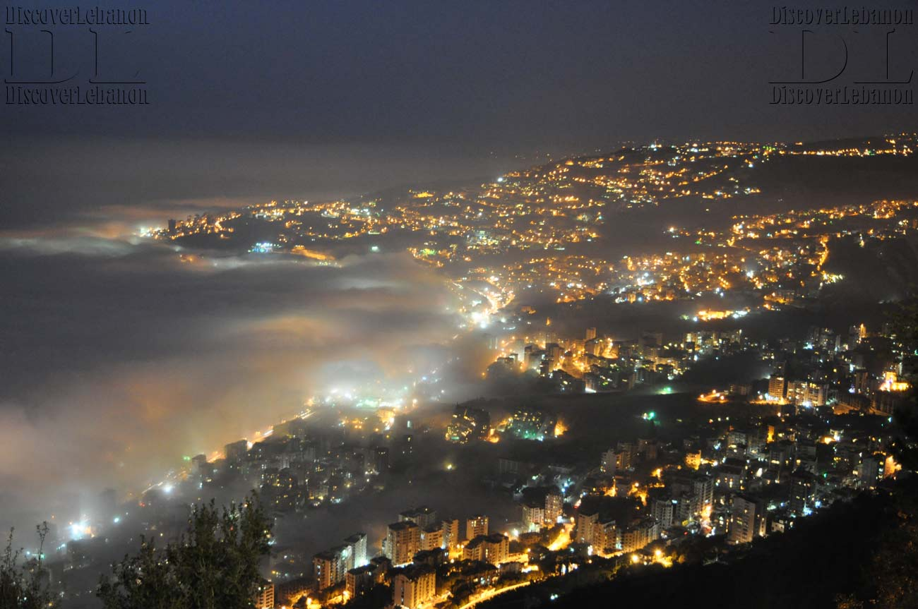 Wallpaper lebanon image picture Jounieh under fog 2012 weather night 1300x863