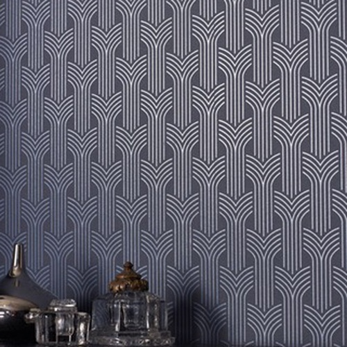 Metallic contemporary Retro Geometric patterned vinyl wallpaper eBay 500x500
