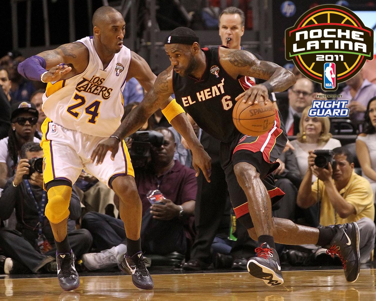 Kobe Bryant Los Lakers y LeBron James El Heat 1280x1024