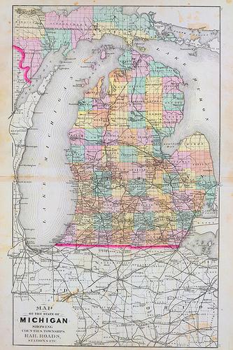 Old Michigan Map Wallpaper Flickr   Photo Sharing 333x500