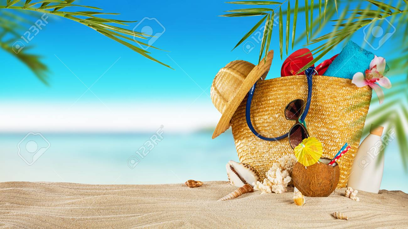 Tropical Beach With Sunbathing Accessories Summer Holiday 1300x730