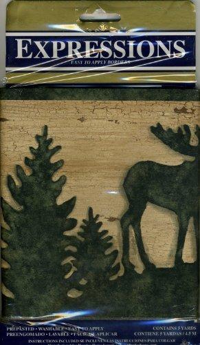 presenting the popular Moose Bear Deer Pine Tree Lodge Wallpaper 291x500