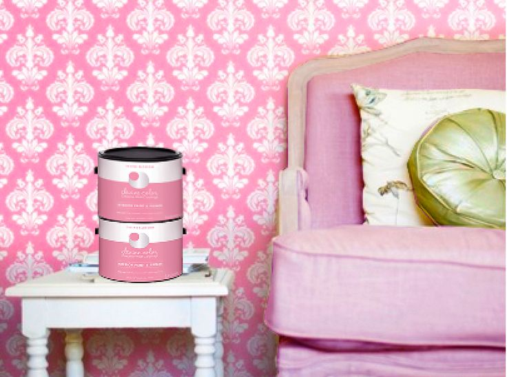 Pink Devine Color Repositionable wallpaper and paint exclusively at 736x547