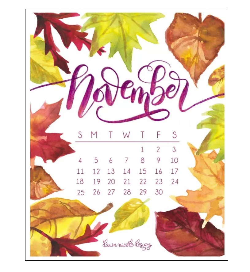100 Cute November 2019 Calendar Wall Floral Designs Images Pictures 815x888