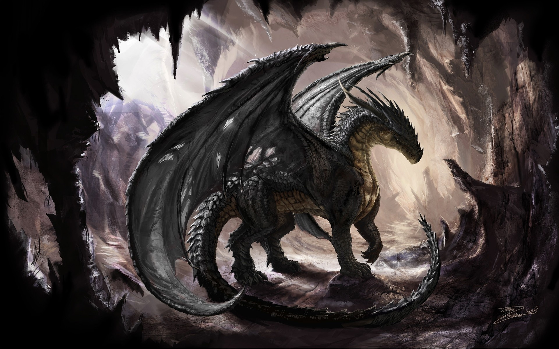 Black Dragon 3d art black dragon fantasy 1920x1200
