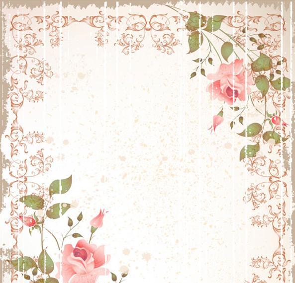 Vintage rose border vectors Download PSD EPS AI CDR Files 593x570