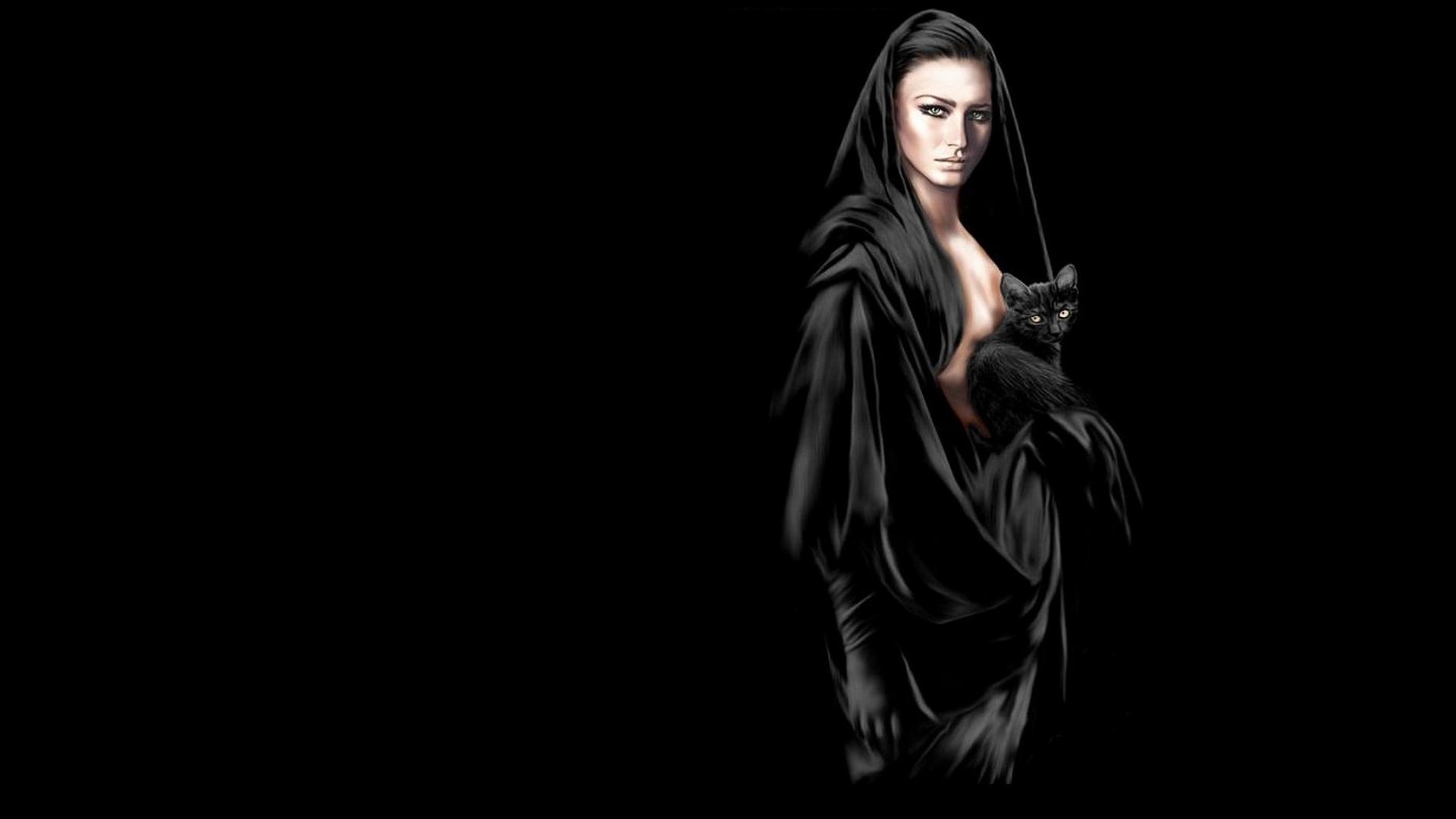 Women Black Wallpaper 1920x1080 Women Black Hooded Cats Drawn 1920x1080