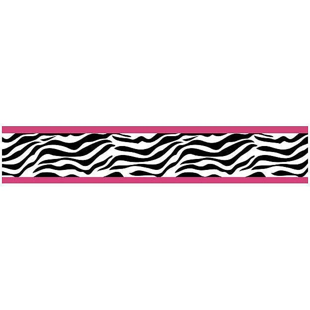Pink Black and White Zebra Print Wallpaper Border 624x624
