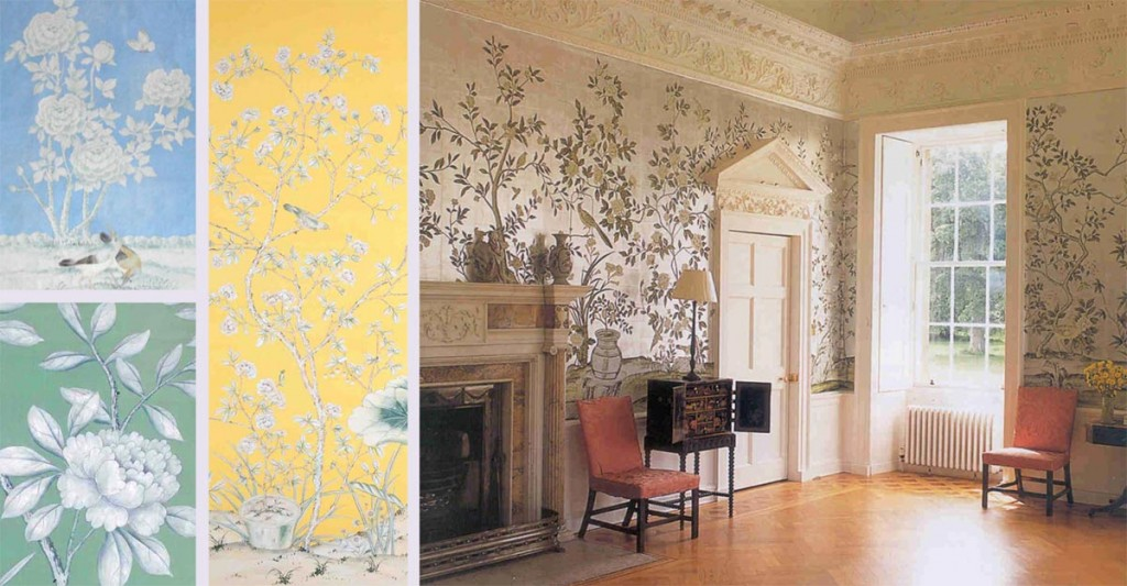 Gorgeous Green Dining Room de Gournay Wallpaper takes center stage 1024x533