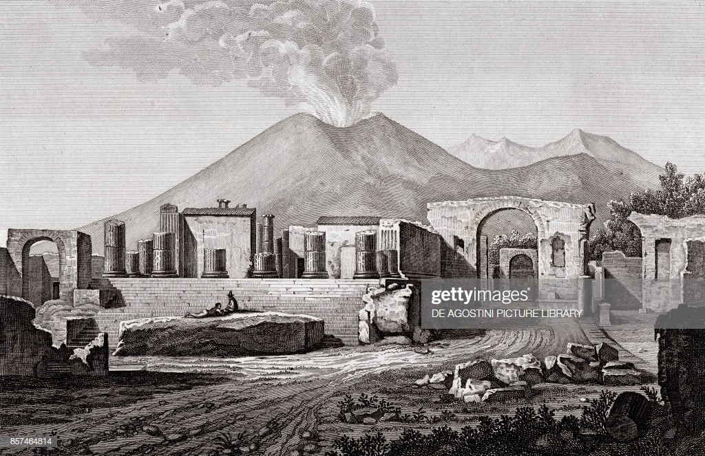 The Temple of Jupiter in Pompeii with the Mount Vesuvius in the 1024x663