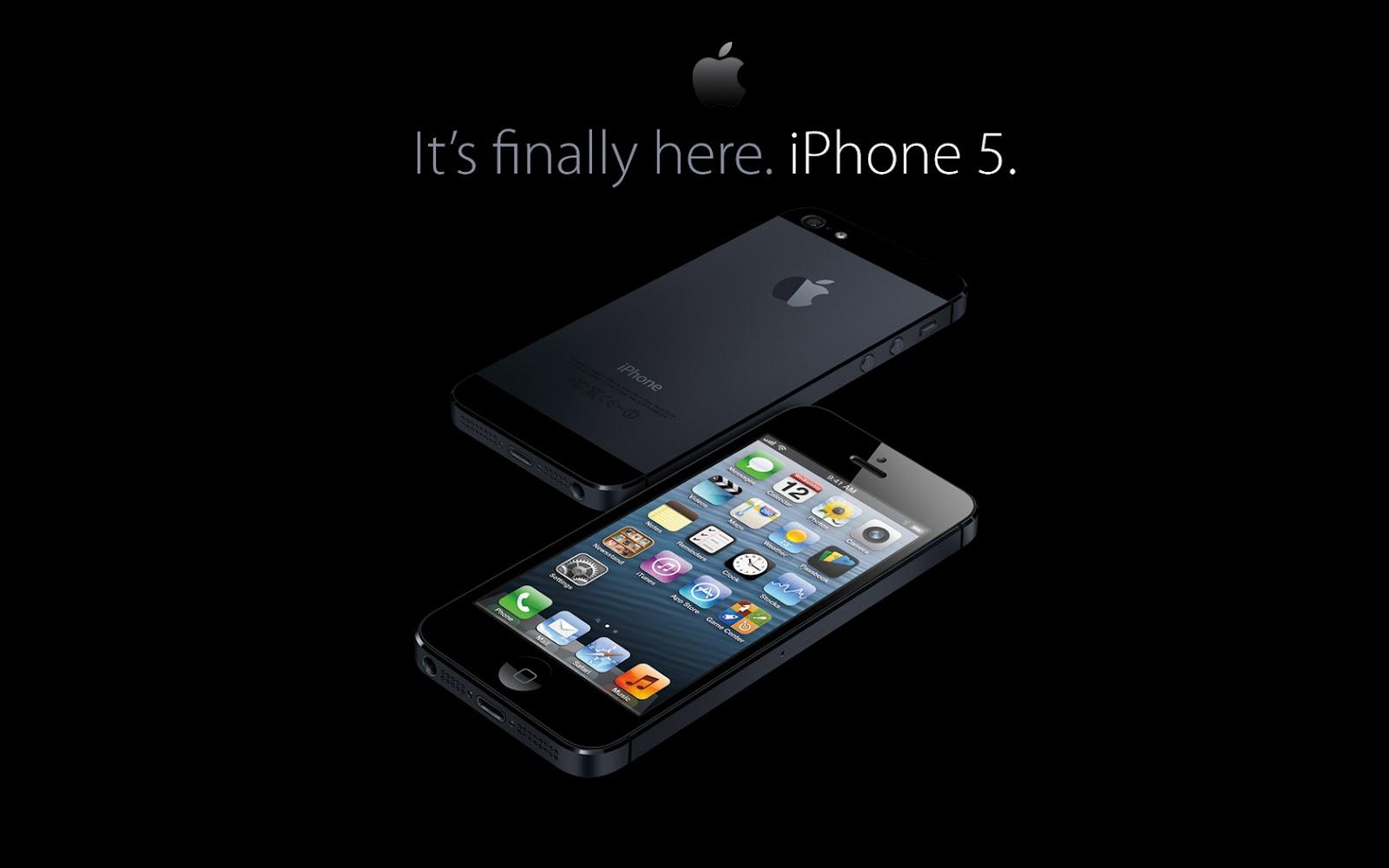 de langverwachte iPhone 5 van Apple is er HD zwart iPhone wallpaper 1600x1000
