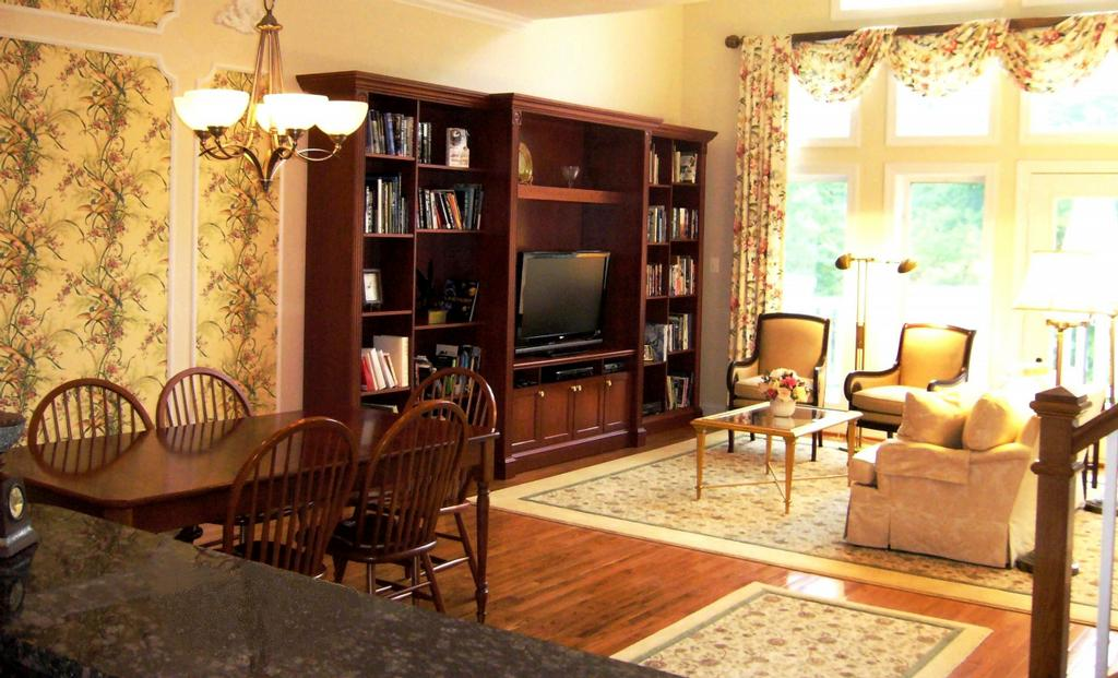 Living Dining Rooms Cream Area Rugs Cherry Built In Bookcase 1024x621