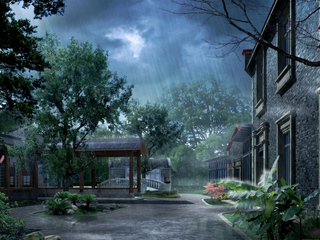 3d graphics rain in mansion 3d 630x473