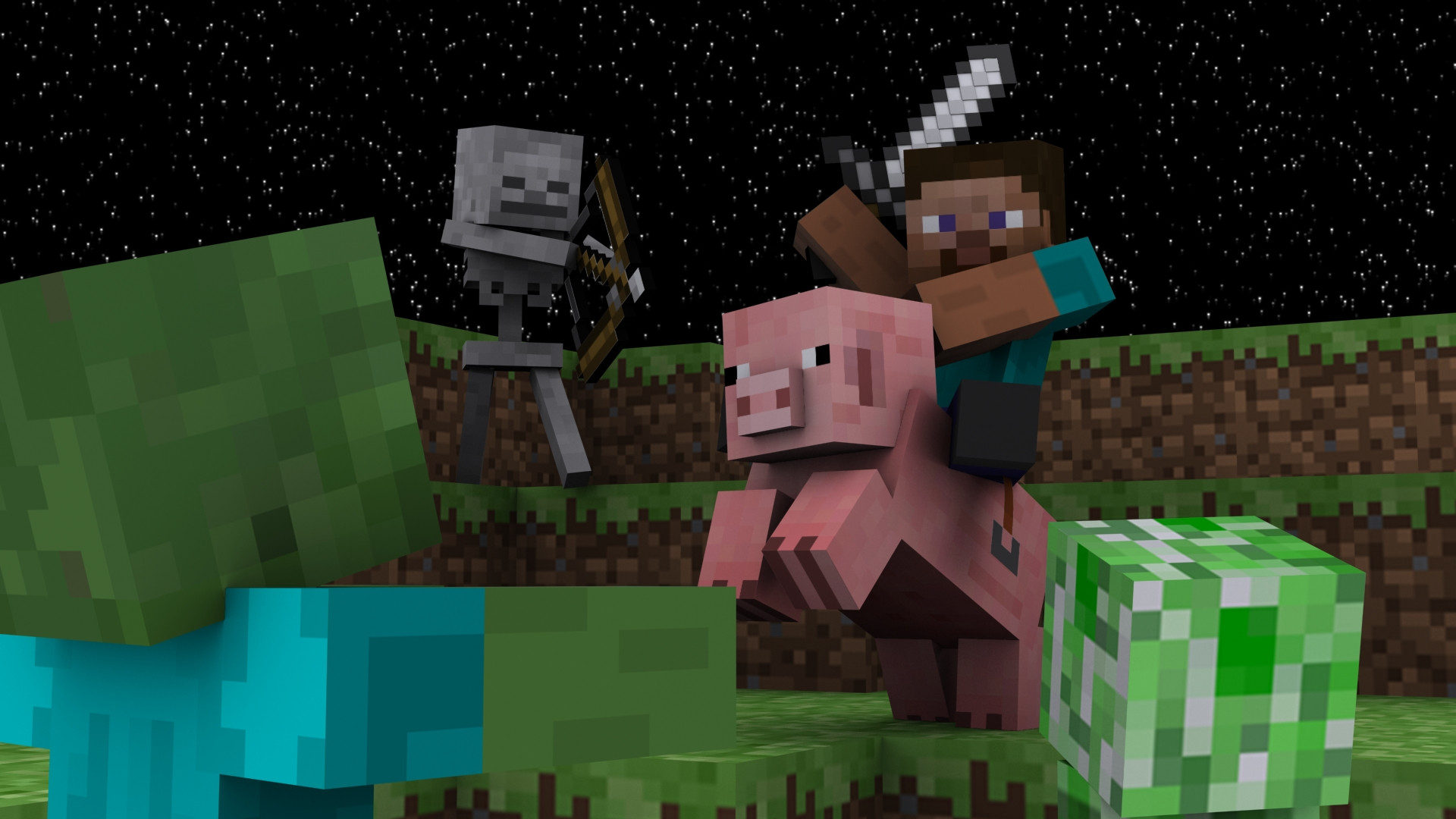 pc An epic Minecraft Wallpaper I made for my Digital Modeling class 1920x1080