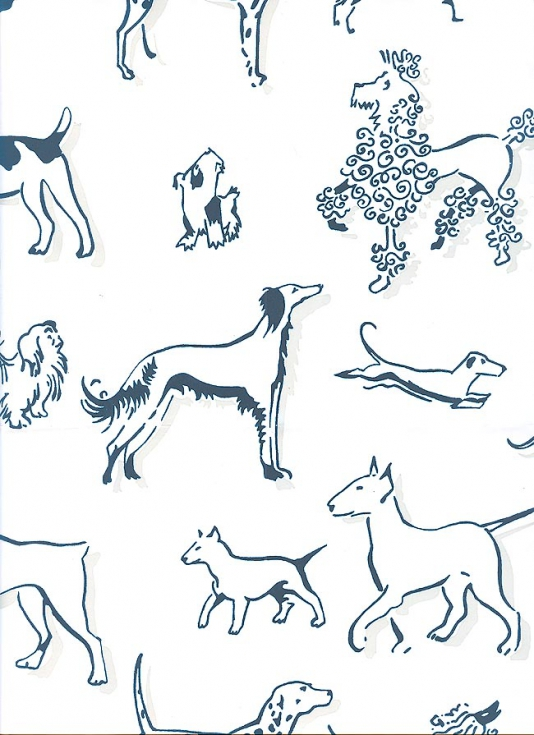 Show Wallpaper Wallpaper with navy dogs with light beige shadow print 534x735