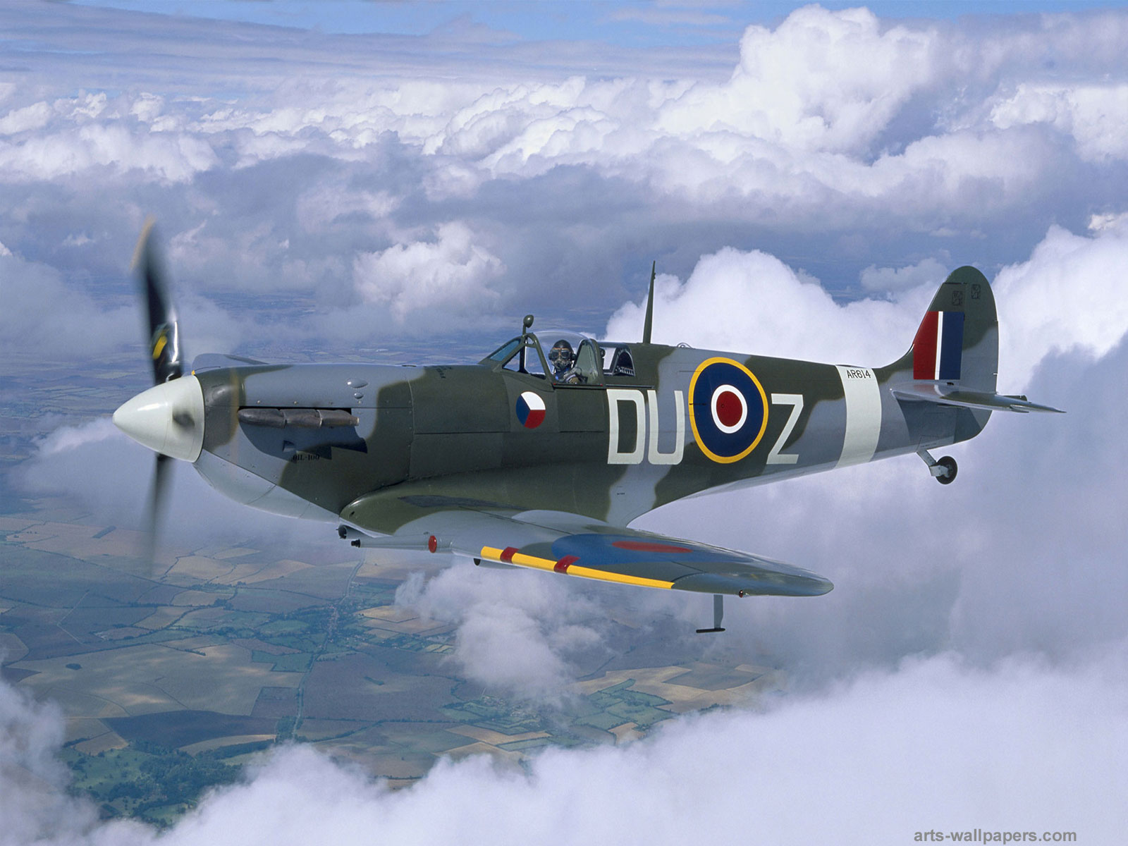 Pin Spitfire Wallpaper Hd Supermarine Aircraft Plane Clouds on 1600x1200
